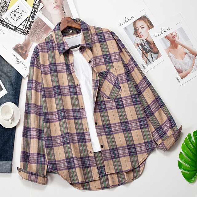 2020 Plaid Shirts Women Top And Blouses Long Sleeve Oversized Cotton Ladies Casual Blusas One Pocket Loose Female Checked Shirt 3