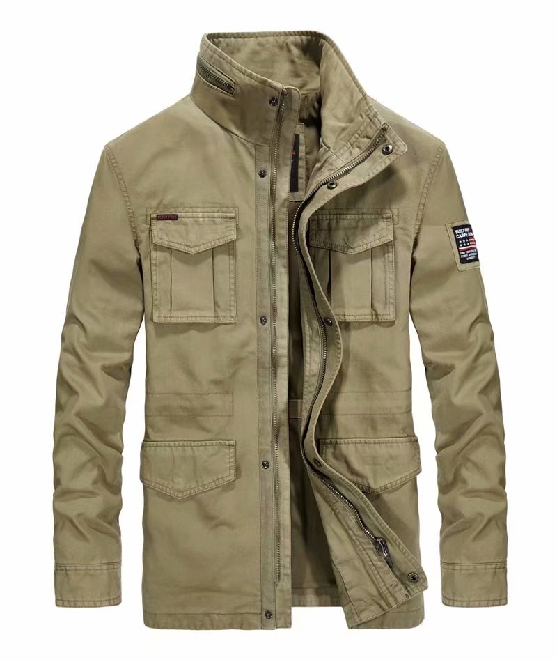 ICPANS Coat Military Jacket Windbreakers Collar Multi-Pocket Plus-Size Casual Cotton title=