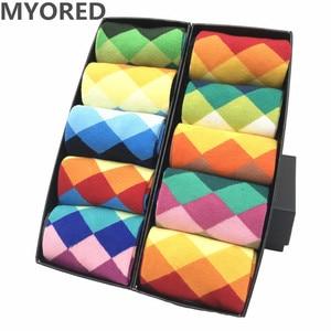 Image 1 - MYORED mens colorful casual dress socks combed cotton striped plaid geometric lattice pattern fashion design high quality