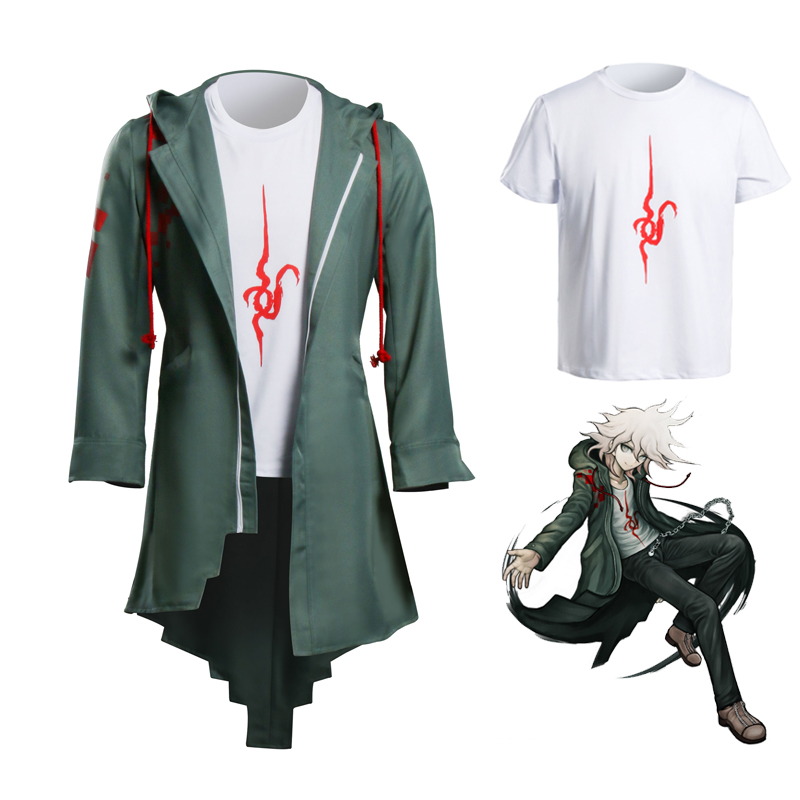 Takerlama Super Danganronpa 2 Nagito Komaeda Cosplay Jacket T-shirt Sets Halloween Costumes for Women Men Adult Anime Clothes