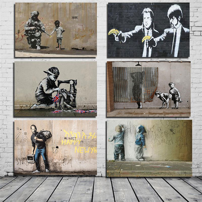 Banksy Poster Graffiti Pop Wall Art Canvas Painting Posters Prints Abstract Wall Pictures for Living Room Restaurant Decoration