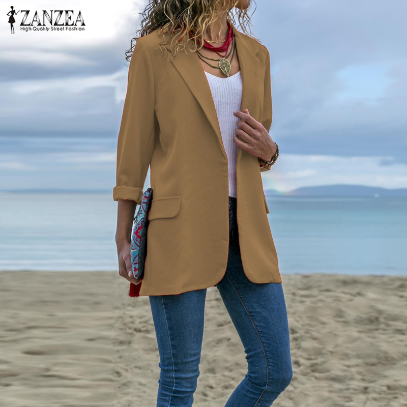 Women Turn-down Collar Blazers ZANZEA 2019 Office Lady Long Sleev Business Blazer Female Coats Jackets Outwear Womens Blazers