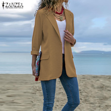 Women Turn-down Collar Blazers ZANZEA 2020 Office Lady Long Sleev Business Blazer Female Coats Jackets Outwear Womens Blazers