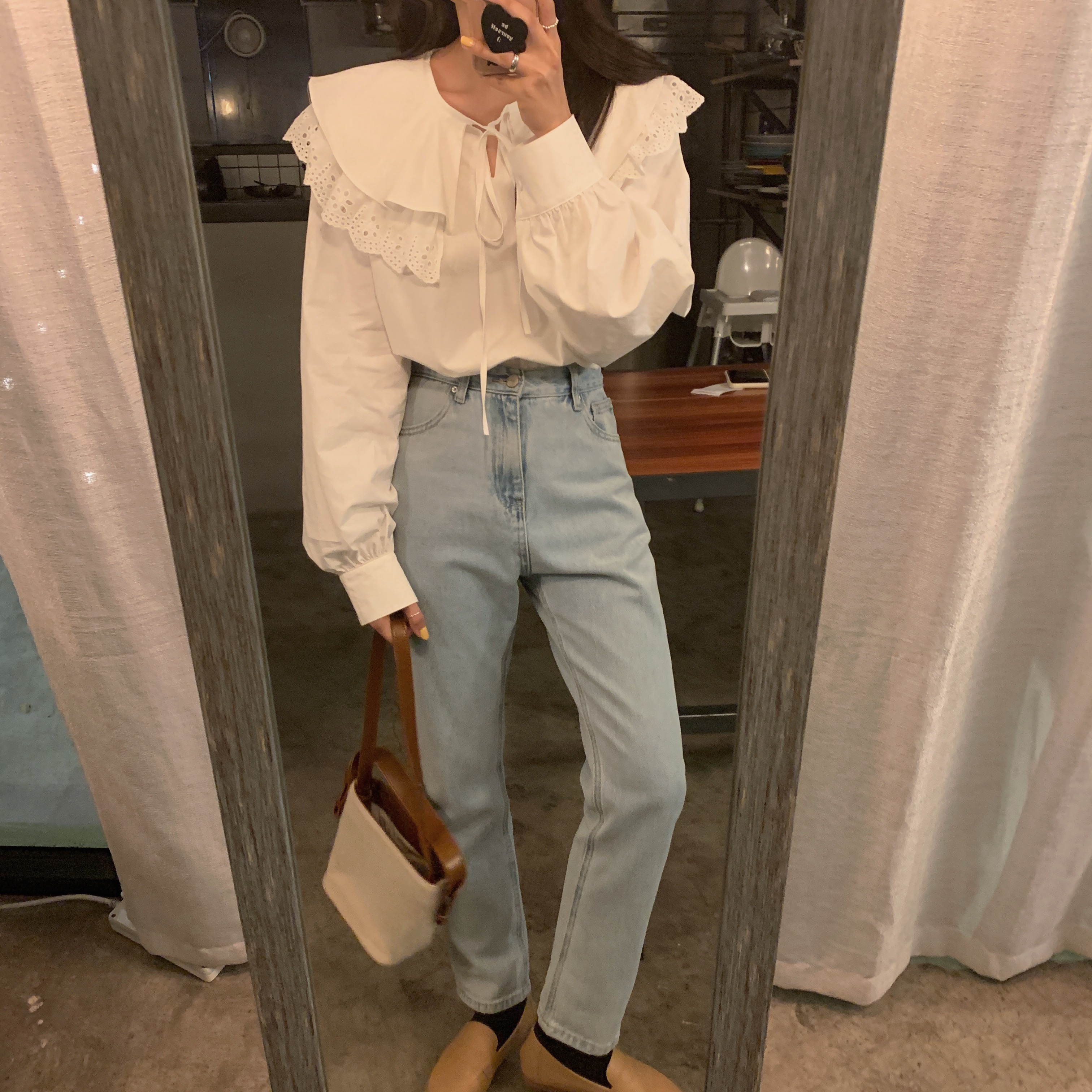 H58f49a8721ca4edda1eb73edc9114c88Z - Spring / Autumn Korean Lace-Up Hollow Out Collar Long Sleeves Loose Solid Blouse