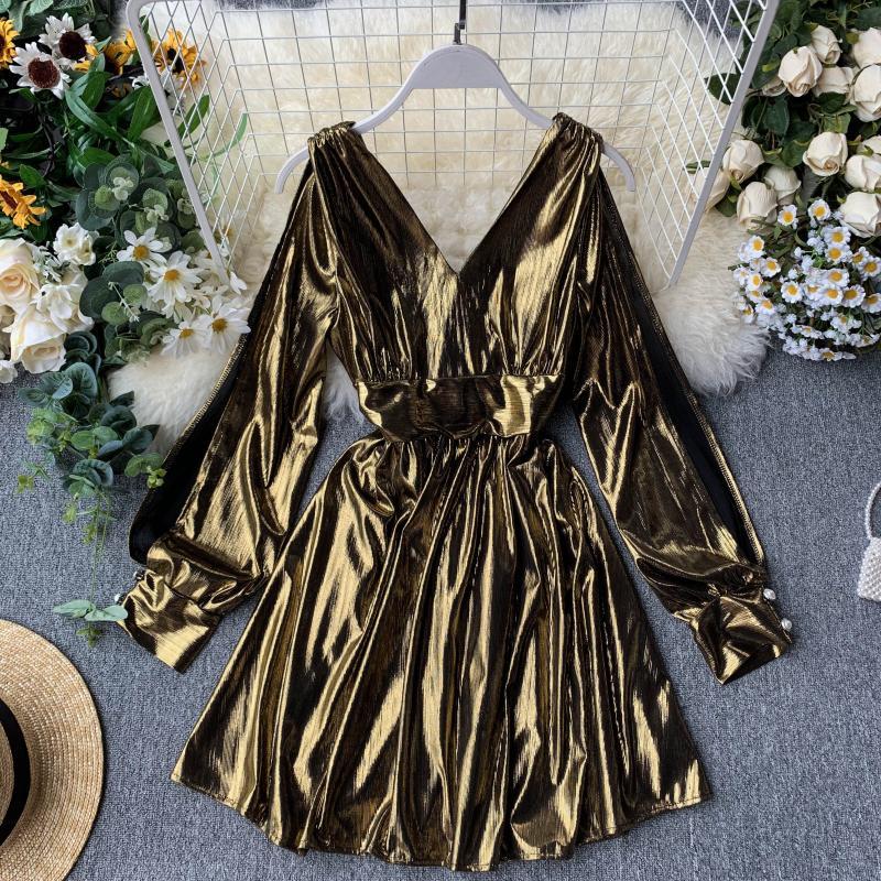 Women's Autumn Dress Backless Long Sleeve V-neck Waist Tie Bright Color Dress Mini Dress Woman Female Vestidos Fashion LS205