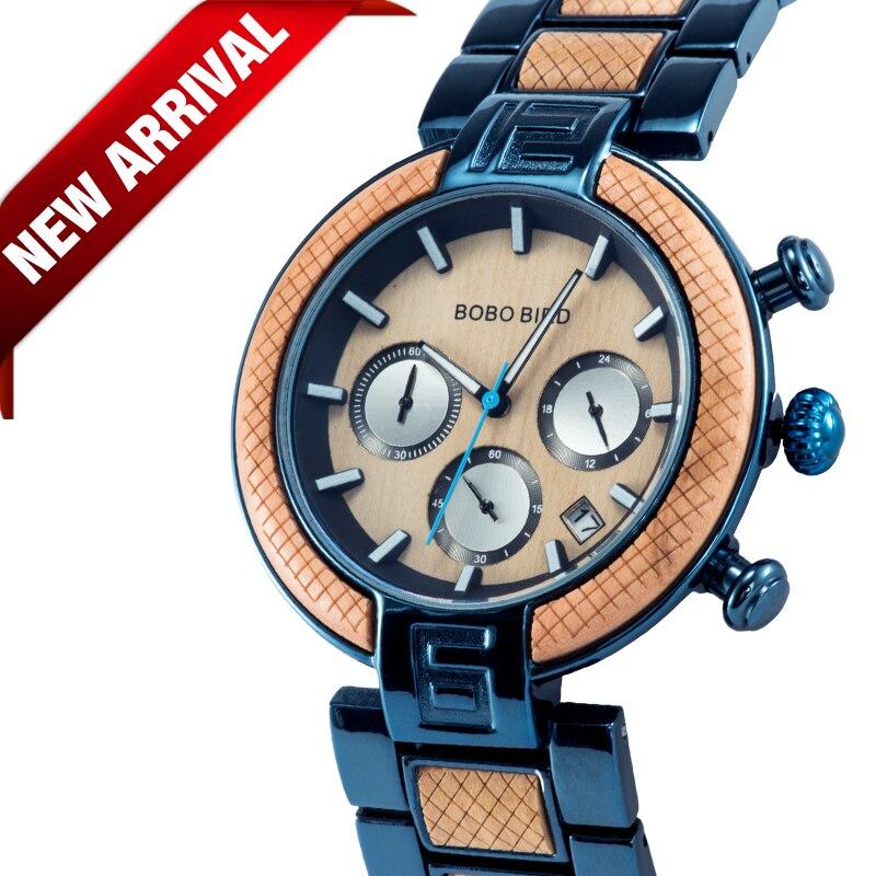 часы мужские BOBO BIRD Wood Watch Men Stopwatches Handmade Japan Movement Quartz Wristwatch Gift For Male Erkek Kol Saati
