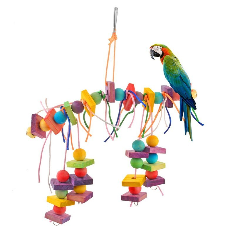 Quality Wood Pet Parrot Bird Toys Chew Climbing Swing Toys Parrots Cage Stairs Windchimes Funny Pet Supplies Bird Toys New