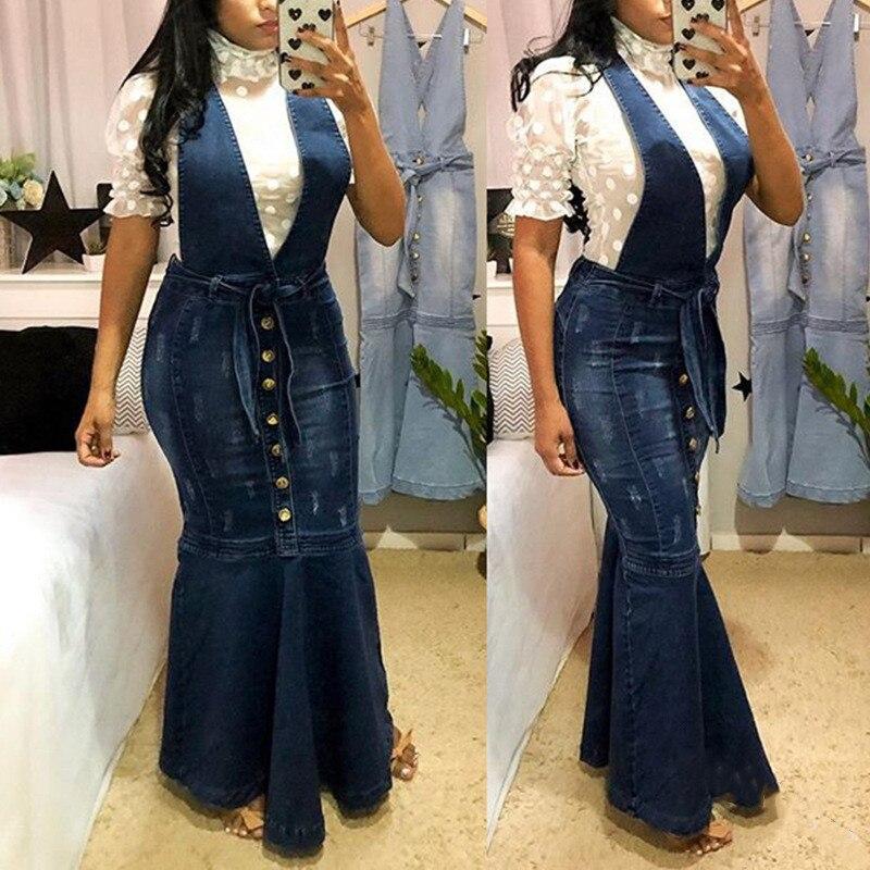 New 2020 Suspender Skirt Women Overalls No Stretch V-neck Buttons Maxi Long Skirt Mermaid Trumpet Empire High Waist Jeans J9D891