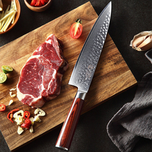 YARENH 8 inch Chef Knife Professional Kitchen Knives Damascus High Carbon Japanese Stainless Steel Beef Red Wood Handle