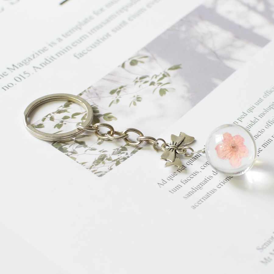 Thương Hiệu Quả Cầu Pha Lê Móc Khóa Bóng Thủy Tinh Hoa Khô Mặt Dây Chuyền kim loại Móc Khóa Nữ Khóa có Mặt Nhẫn DIY bộ trang sức