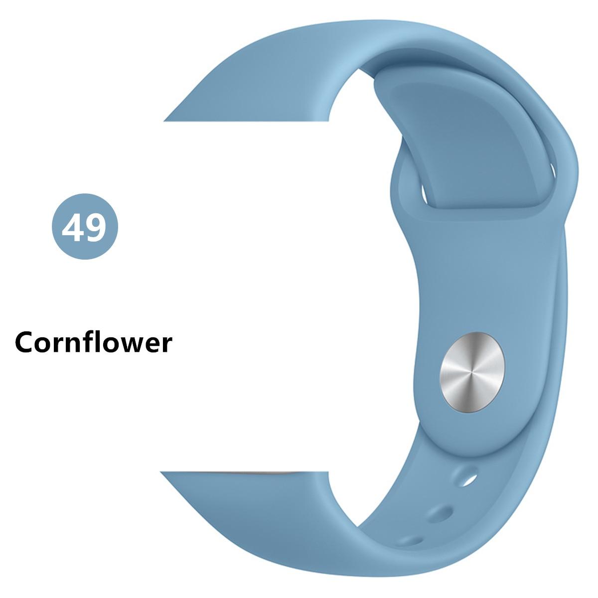 Ремешок для Apple Watch 38 мм 42 мм iWatch 4 ремешка 44 мм 40 мм спортивный силиконовый ремень браслет Apple watch 5 4 3 2 Аксессуары для ремешка - Цвет ремешка: Cornflower
