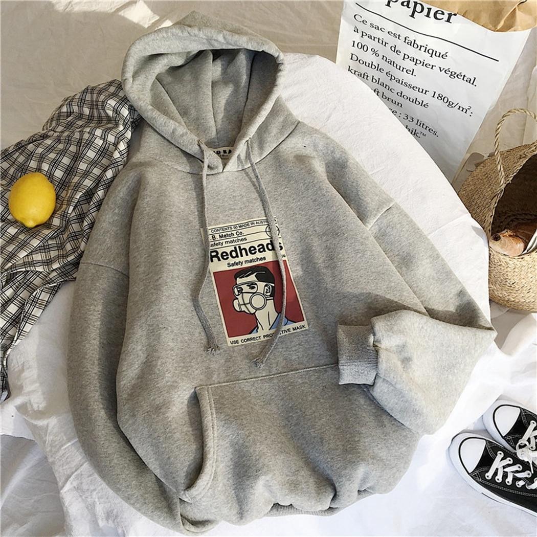 Oversized 2019 Ulzzang Harajuku Wild Hoodies Winter Couple Hoodie Streetwear Pullovers Loose Long Sleeve Sweatshirt Coat