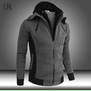 Zipper Warm Fleece Hoodies Men Autumn Winter Casual Patchwork Hoody Sweatshirts Mens Hip Hop Streetwear Male Pullover Hood Coats