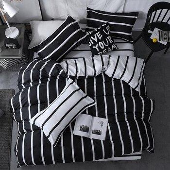 Solstice Bedding Set Black White Stripe 16