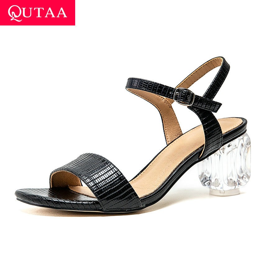 QUTAA 2020 Open-toed Buckle Fashion Ladies Pumps PU Leather Slingback Women Shoes Square Heel Concise Summer Sandals Size 34-43