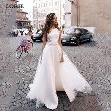 Лори линии атласная свадебное платье со съемной поезд кружева пляж свадебные платья vestido де noiva белый
