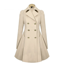 Women Commute In Autumn And Winter Slim Coat Stylish Trench Coat Polyester Long