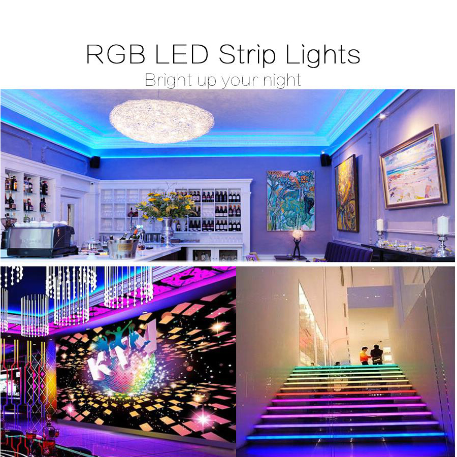 H58f5e3d216714cda8ebf63ba6cd6bd6el 5050 LED Strip WIFI RGB RGBW RGBWW 5M 10M 15M RGB Led Color Changeable Flexible LED Strip Light + WIFI Remote Controller + Power