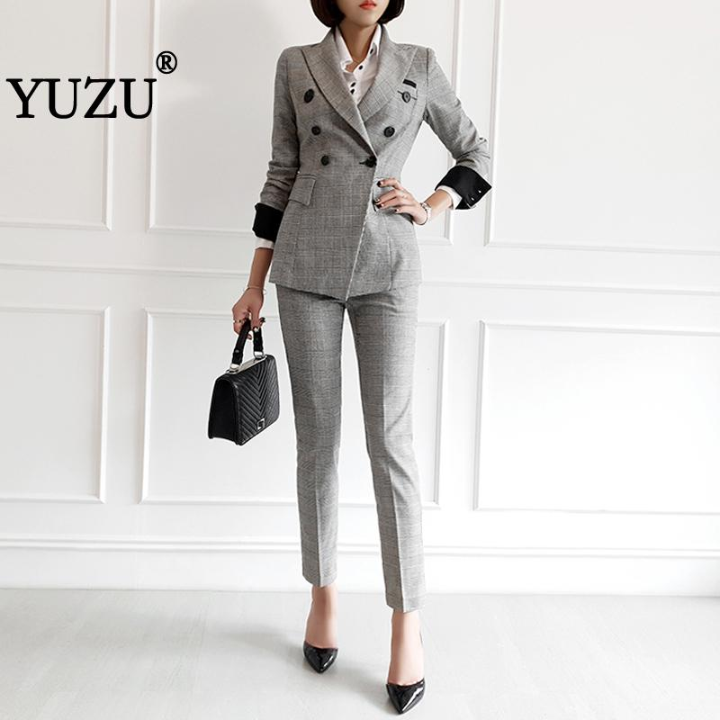 Woman Suits Lady Suit Office Gray Blazer With Pants Double-breasted Pocket Fashion Office Ladies Uniform Ol Two-piece Suit