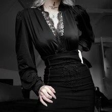 Goth Dark Academia Sexy Woman High Waist Pencil Skirt Y2K Gothic Floral Lace Zip Bodycon Denim Skirt Female Aututmn Alt Clothes