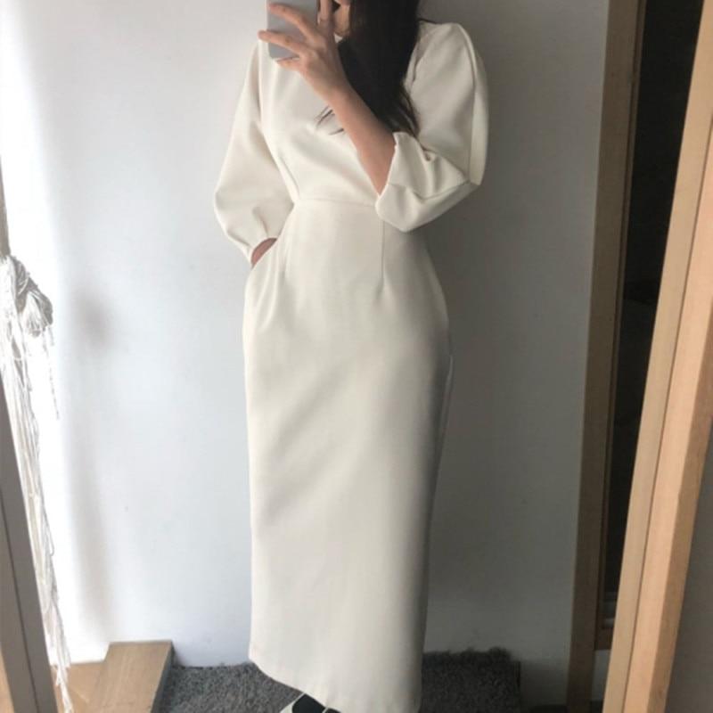 Новинка весны 2020, женское платье, однотонное, элегантное, черное, белое, платья, для офиса, для девушек, для работы, вечерние, тонкая талия, мак...