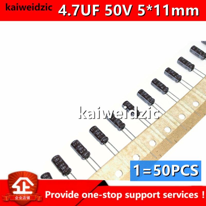 Kaiweikdic новый импортный оригинальный 4,7 мкФ 50V Объем 5*11 мм Япония черный золотой прямой разъем электролитический конденсатор