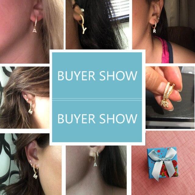 1 pair Trendy cubic zirconia Initial Letter A-Z Earrings silver gold small hoop earrings For Women Jewelry oorbelen orecchini 6