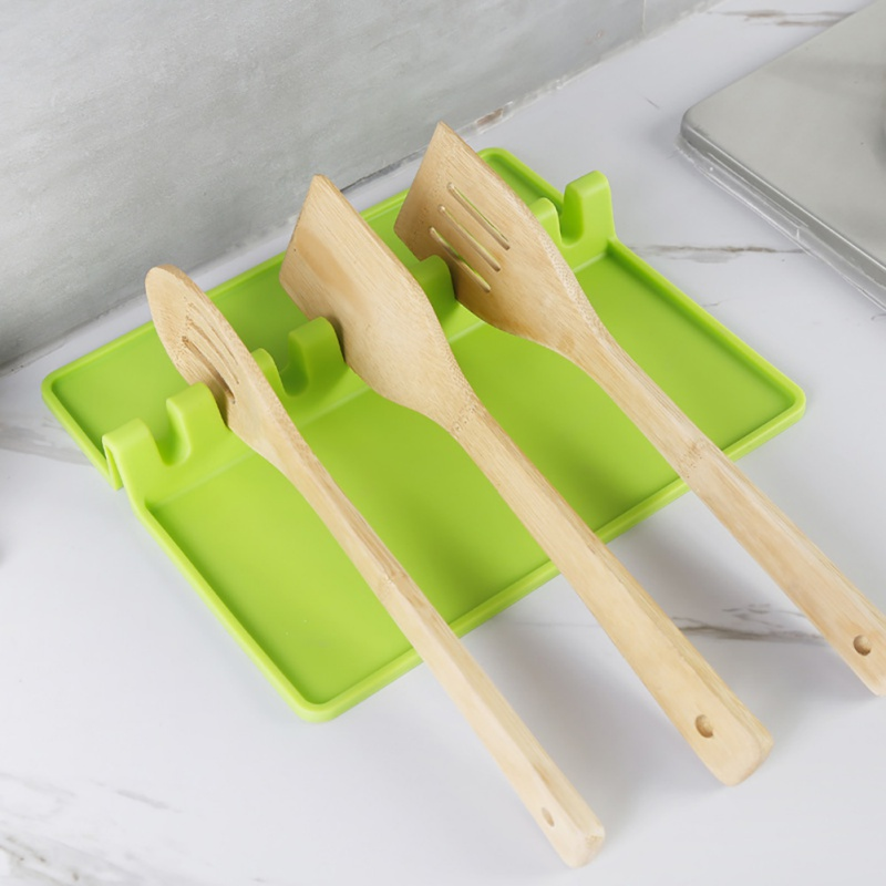 Ustensiles de cuisine Silicone cuillère cuisine spatule support résistant à la chaleur ustensile Silicone cuillère Pad