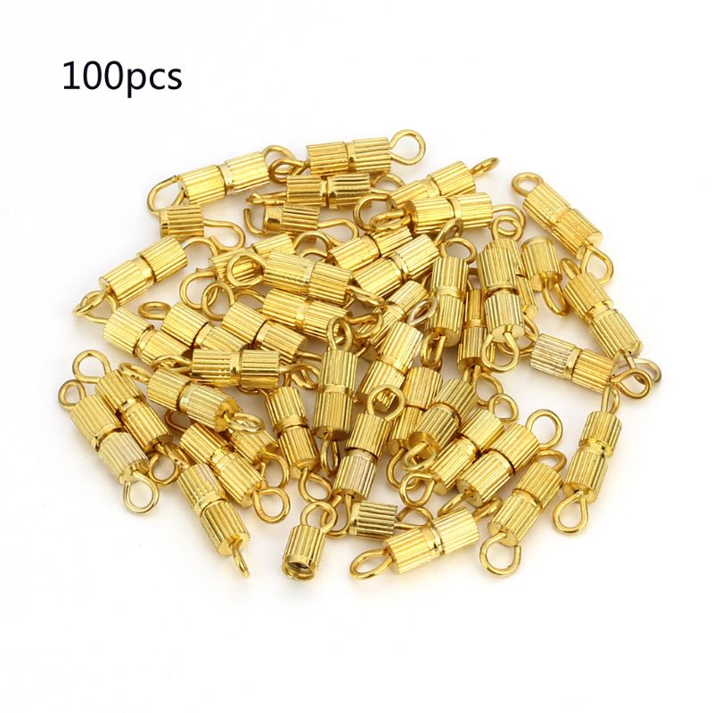 100Pcs Screw Type Barrel Clasp Necklace Bracelet Connectors DIY Jewelry Findings T4MD(China)