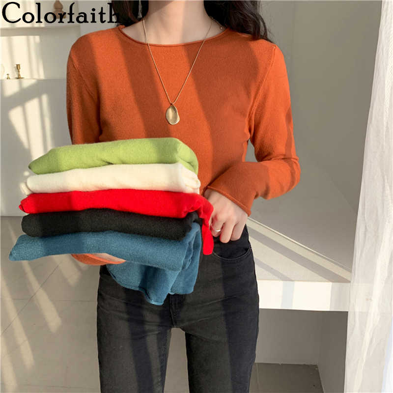 Colorfaith new 2019 가을 겨울 여성용 스웨터 bottoming elastic 캐주얼 유행 미니멀리스트 니트 상의 sw1802