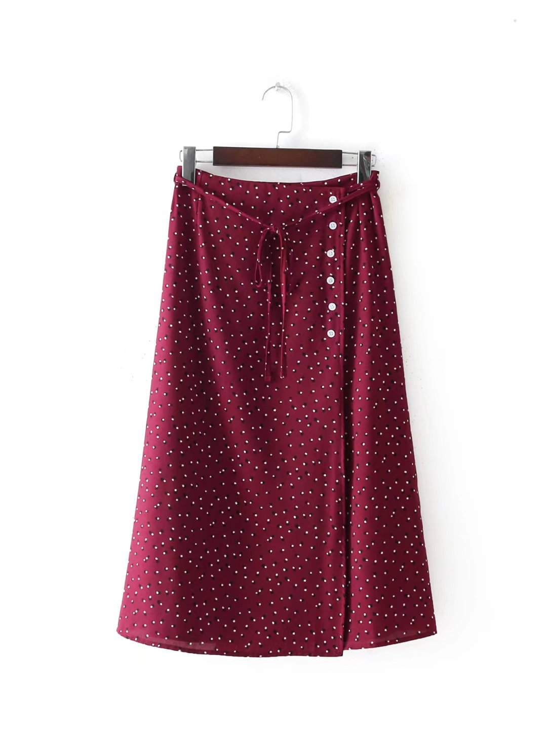 Women Sweet Bow Tie Polka Dots Wrap Skirt Falda Mujer Buttons Vintage Ladies Casual Chic Mid Calf Skirts