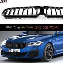 Глянцевая черная решетка для переднего бампера из АБС-пластика Kindey для BMW 5 серии 2020 - 2022 G30 G31 F90 (M5) LCI