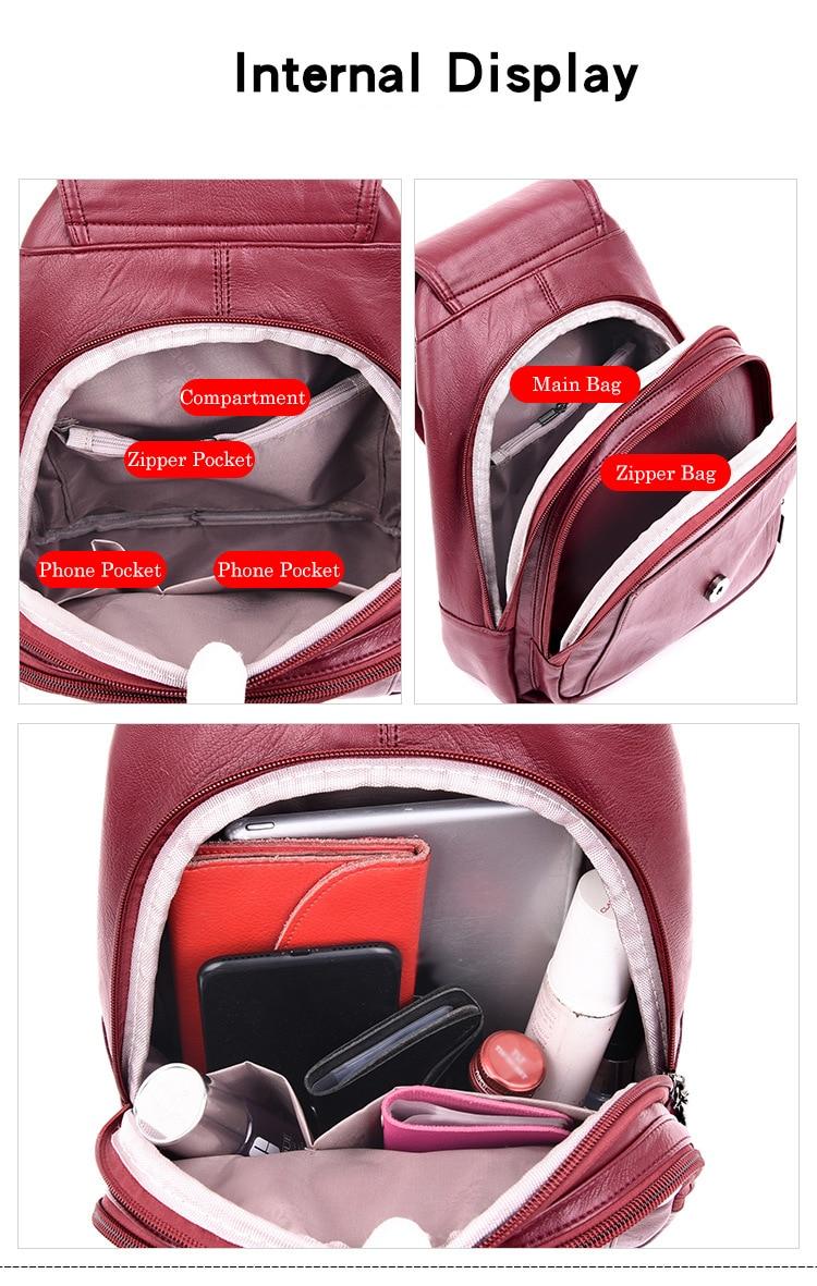 Women's Vintage Leather Backpack 9