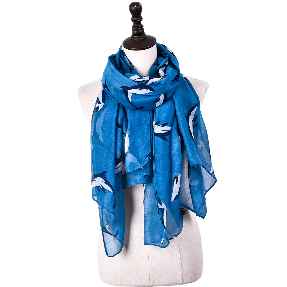 Fashion Sea Dolphin Design  Viscose Leaping Ocean Whale Printed Shawls Animal Printing Pashmina Hijab Scarf Wrap Muffler