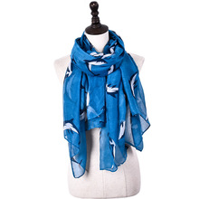 Fashion Sea Dolphin Design Viscose Leaping Ocean Whale Printed Shawls Animal Printing Pashmina Hijab
