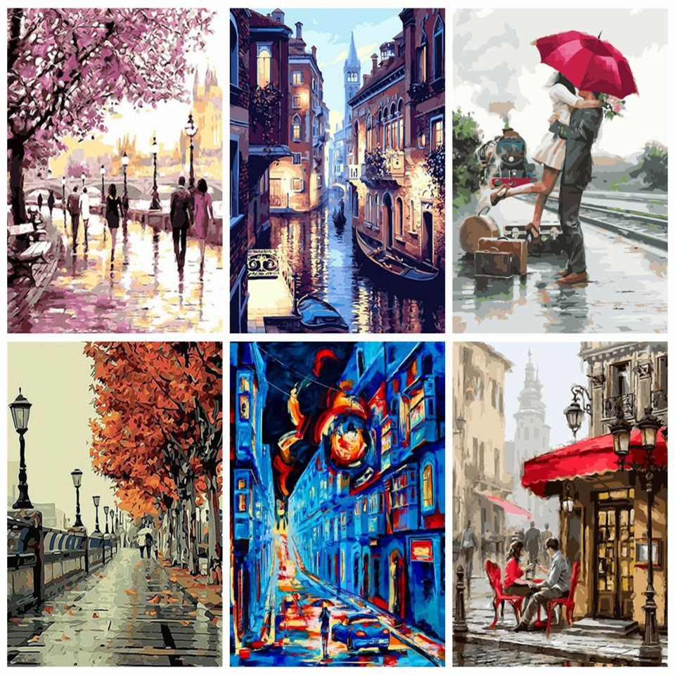 AZQSD 40x50cm Painting By Numbers Landscape DIY Paint By Number Canvas Painting Kits For Adults Modern Home Decor