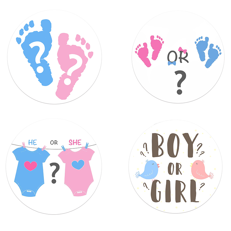 Gender Reveal Team Boy Team Girl Stickers Boy Or Girl He Or She Tags Labels Party Creative Decoration Baby Shower Supplies