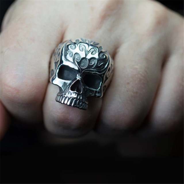 VINTAGE FLOWER SKULL HEAD RINGS