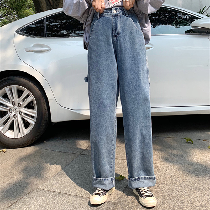 SML 2019 Autumn Korean Chic Style Women Denim Pants Loose Blue High Waist Wide Leg Jeans For Women Straight Pants (F6617)