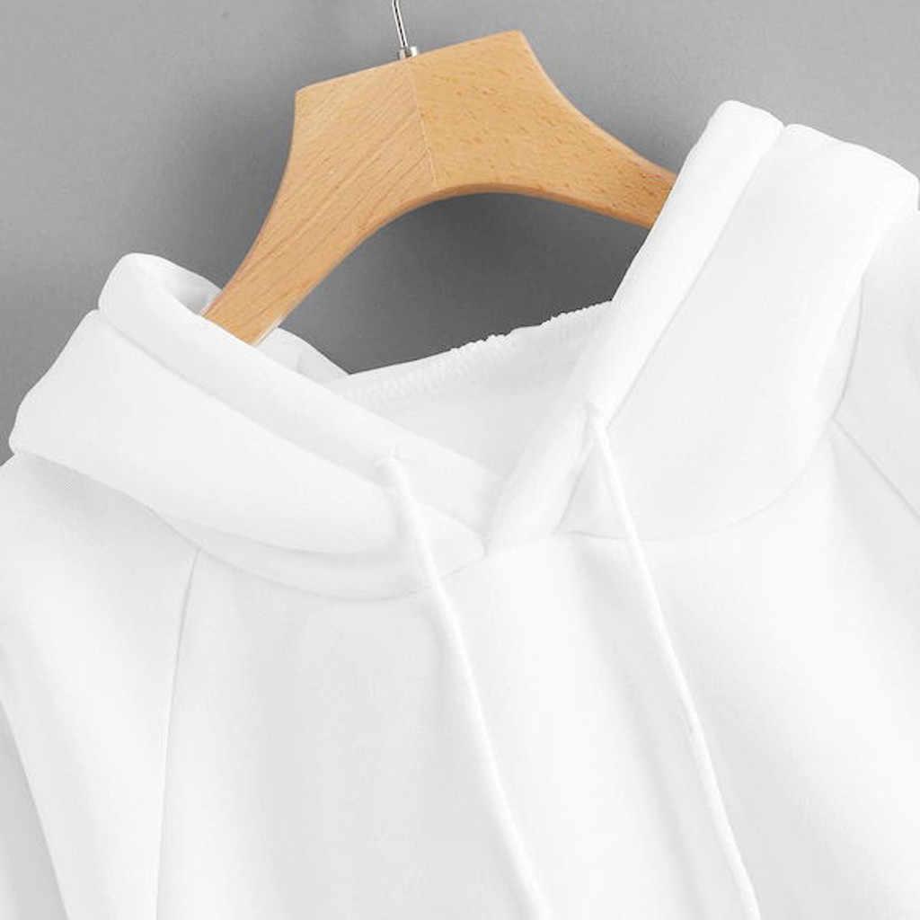 נשים מקרית מוצק צבע סלעית כיס ארוך שרוול סווטשירט בסוודרים חורף Harajuku חם נים חולצות Dropshipping