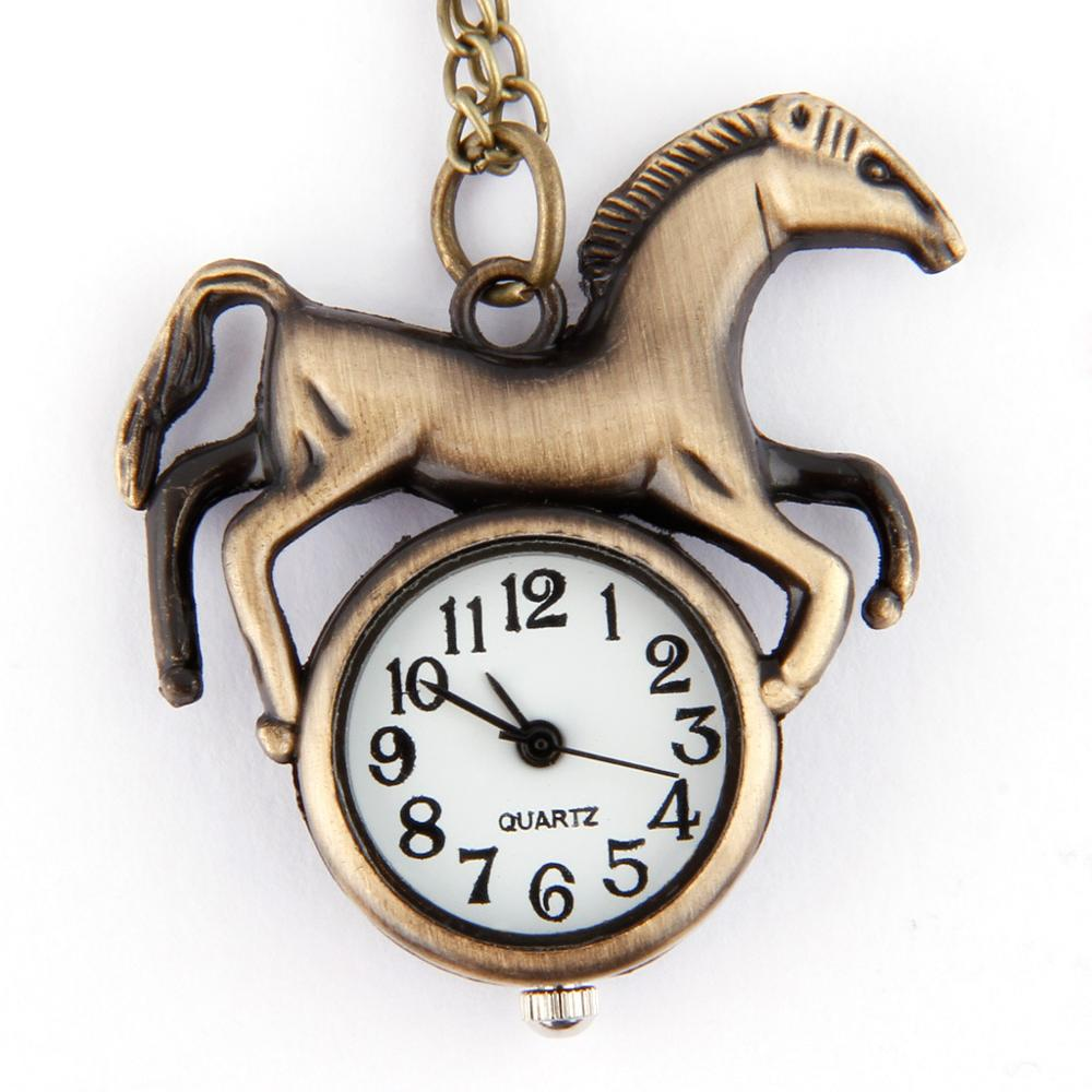 7017Chinese Zodiac Horse Retro Pocket Watch Wholesale Creative Men And Women Style Trumpet Flip Table
