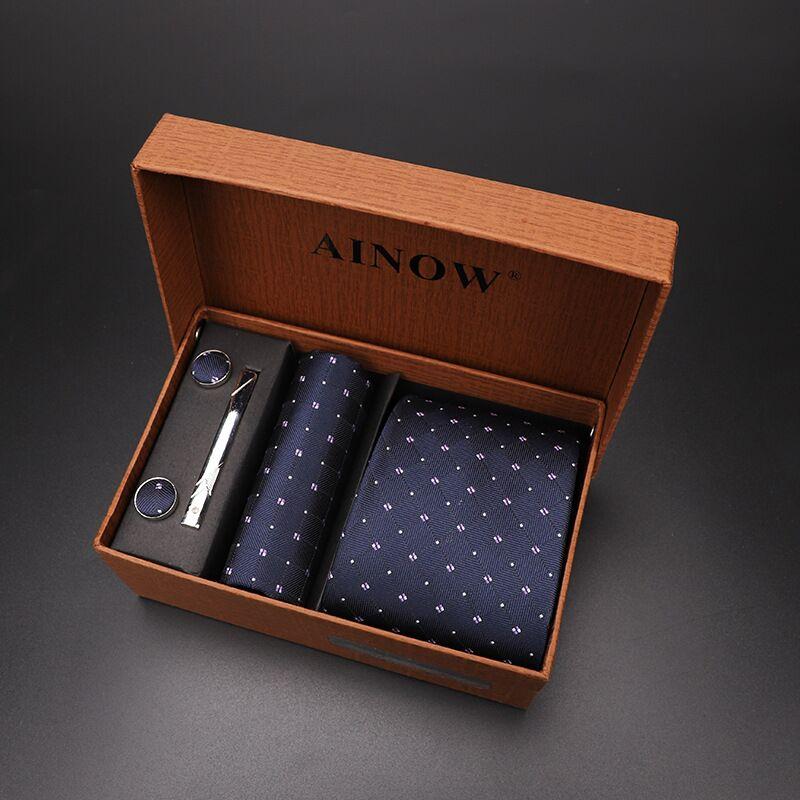 Набор галстуков 4 шт. мужской цветочный галстук для шеи клетчатый галстук подарок свадебный красный полосатый 8 см темно-синий жаккардовый тканый черный однотонный Камуфляжный ящик - Цвет: NO box 27