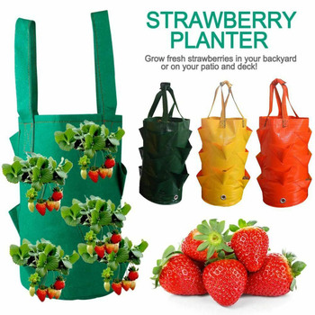 Plastic Planter Bag Flower Herb Strawberry Hanging Planter Growth Bag Pouch for Home Garden image