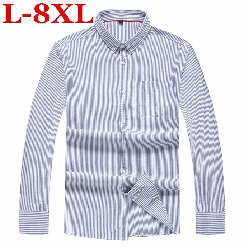 Plus Size 8XL7XL 6XL Men's Pure Cotton Shirt Slim Fit  Fashion Long  Sleeve Casual Business Shirts Men Dress Shirts High Quality