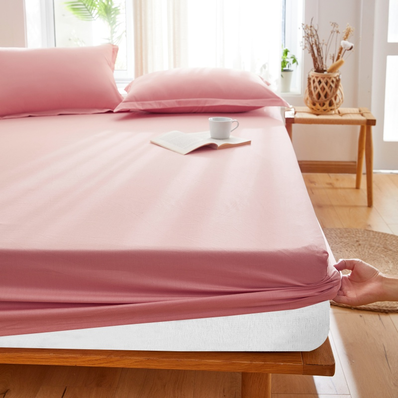 1PC Cotton Luxury Fitted Sheet Solid Bed Mattress With Four Corners Elastic Band Sheets Hot Sale Suitable For Hotel And Home #sw
