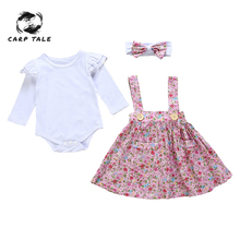 3Pcs Baby Girls Kids Print Clothes Outfits Bow Pink Floral Sets Skirt + Headband + Flying Sleeve Romper Above Knee Mini Dress new arrival easter baby girls long sleeve cotton floral ruffle boutique romper tutu pink clothes bunny kids wear match bow kids