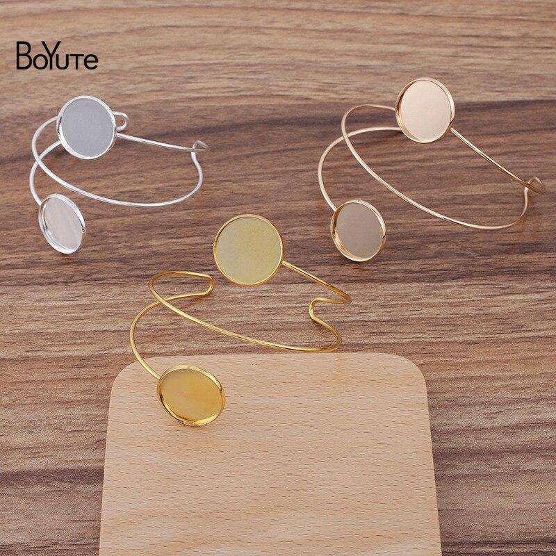 Комплект металлических латунных браслетов BoYuTe (5 шт./лот) с пустым основанием для лотка 20 мм, ювелирные изделия ручной работы «сделай сам», оп...