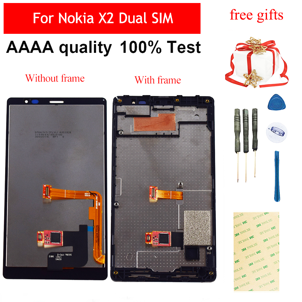 For <font><b>Nokia</b></font> X2 Dual SIM RM-<font><b>1013</b></font> X2DS Touch Screen Digitizer Panel Sensor Glass + LCD Display Panel Screen Module Assembly Frame image