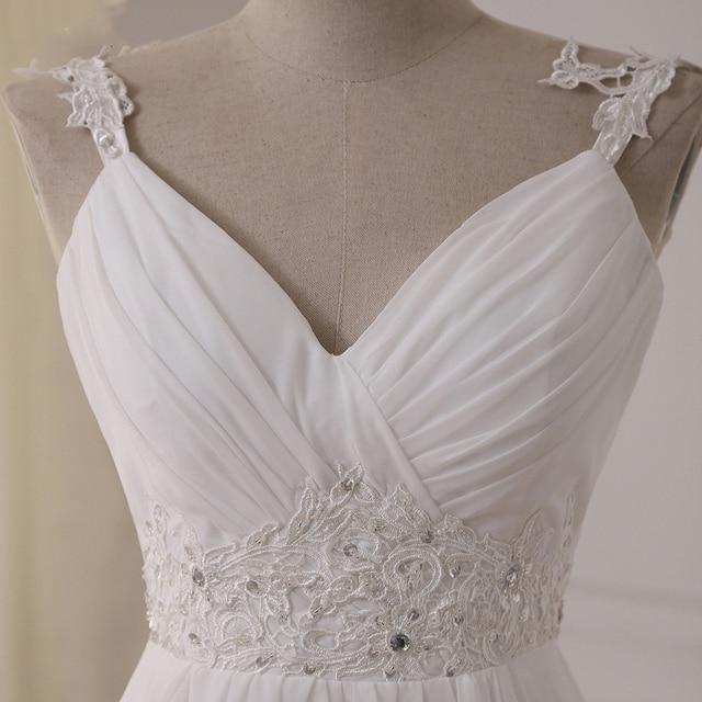 Jiayigong Beach Wedding Dress vestido de noiva In Stock Plus Size Spaghetti Straps Beading Chiffon Wedding Gowns Bridal Dresses 3