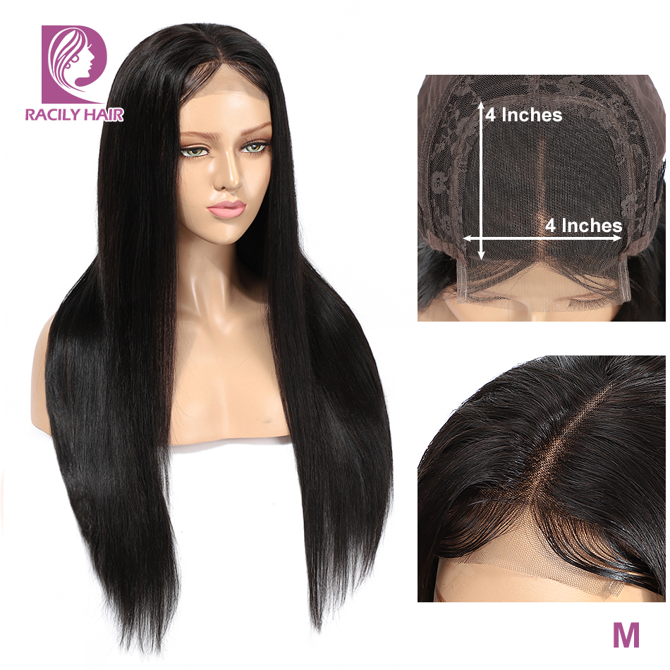 Natural Color 4x4 Lace Closure Wig Racily Hair Brazilian Straight Wig Remy Glueless Lace Closure Human Hair Wigs For Black Women